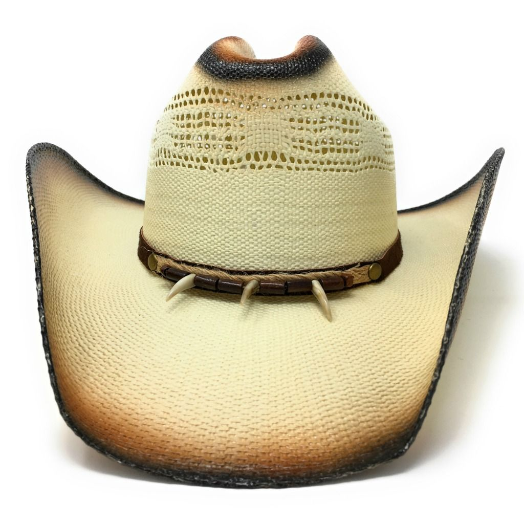 c2c66a0b694 Straw Cowboy Hat - Tan with Brown Beads - Concho - Line Dancing Hat ...